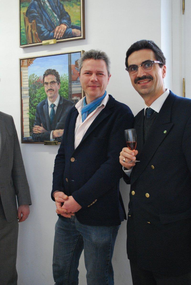 Portraitmaler Stephan Ois mit Rektor Martin Gerzabek, Boku-Wien,Porträtmaler gesucht?