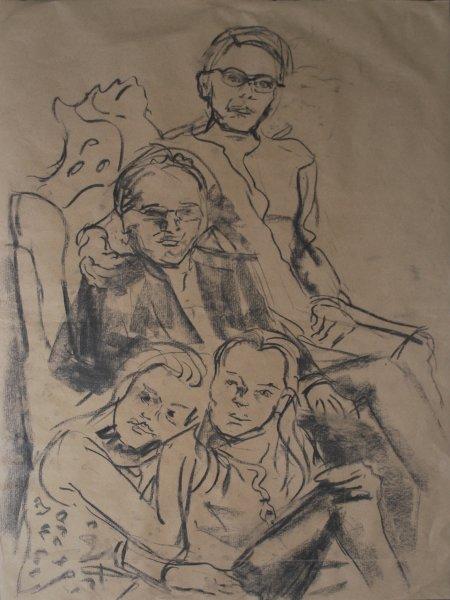 Ölskizze für Familien-Portraitmalerei