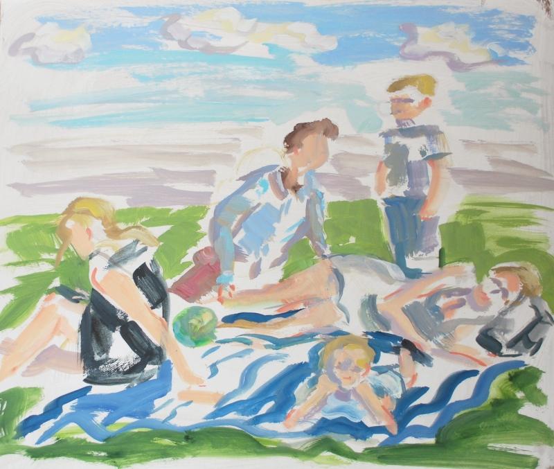 Ölskizze für ein Familienporträt auf Malkarton